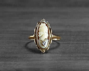 Antique Cameo Ring, 10k Yellow Gold Hand Carved Female Portrait Cameo Ring