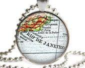 Rio De Janiero Brazil necklace, olympics pendant charm, gifts for friends, South America map, travel necklace, Custom Gift, Nana Gift