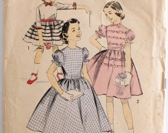 Vintage Sewing Pattern 1950s Girls Bow Collar Full Skirt Party Dress Size 8 Advance 8353