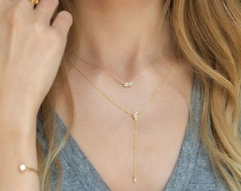 Gold Long Y Necklace, Crystal Y Lariat Necklace, Gold Y Necklace, Lariat Necklace Gold, Layered Necklace, Gold Minimal Necklace, N325-G