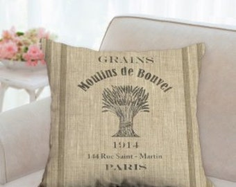 Rustic French Grain Sack Pillows (not real grain sack) design is screen printed.