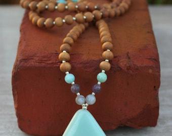 Amazonite Sandalwood Mala - Meditation Inspired Yoga Beads / mala beads BOHO chic / Mala Beads