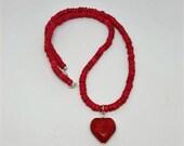 Janis Joplin Red Heart Choker Necklace - Janis Joplin Necklace - Red Heart Necklace - Love Beads - Replica Jewelry