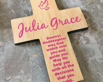 Goddaughter Cross Personalized with her name on Pine Wood / Dove - Baptism  Birthday, First communion, gift- May God watch over you poem