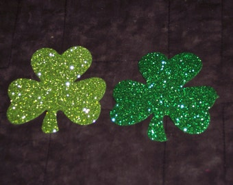 Foam shamrock shapes,glittered,12/pkg,craft pieces,St. Patrick's,Age 3+,kid's crafts