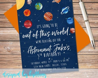 Out of this world invite, Outer Space invitation, Blast off Party, Astronaut, First, 1st, 2nd, 3rd, 4th, 5th, 6th, 7th | digital file only!