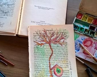 Neurological Watercolour- Uniploar Neuron in hues of red
