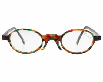 Kookai small oval multicoloured antique victorian style bridge eyeglasses frames hand made in France in the 1980s, NOS