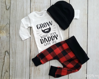 Coming Home Outfit, Going Home Outfit, Newborn Baby Boy Gift, Beard Baby Onesie LumberJack Beard Buffalo Plaid Baby Boy Gift Set