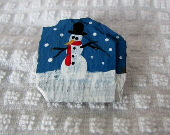Christmas Snowman on Slate Pin, Hand Painted / Crafted, Winter Accessories, Coat Pin ~ BreezyTownship.etsy.com