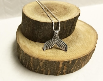 Mens Merman Tail Sterling Silver Pendant Necklace