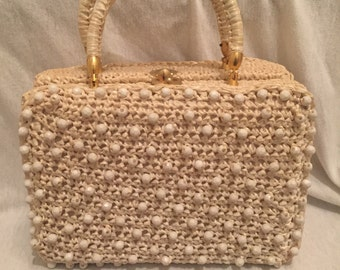 1960's White Pillbox Handbag w Gold Details