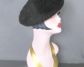 Vintage Black Wool Fur Tam Beret Hat Boho Hippie Hippy Beatnik Basque French France Artist Painter Winter Small Medium