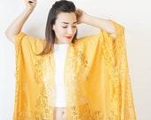 40%OFF Lace Kimono Boho Kimono Yellow Kimono Fringe Kimono Fringe Pareo Wife Gift For Aunt For Her Girlfriend Gift For Mom / KIMONO
