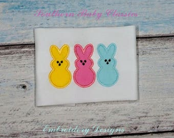 Peeps Marshmallow Rabbit Easter Applique Design File for Embroidery Machine Instant Download
