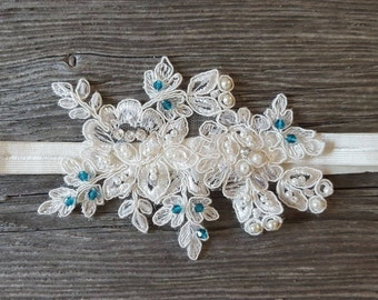 Ivory Blue Romantic Garter