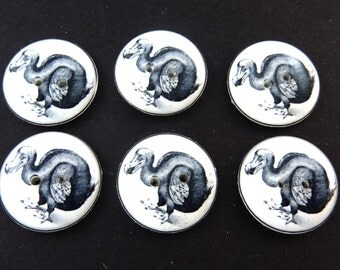 "6 Dodo Bird Sewing Buttons. Vintage Image Extinct Bird.  Handmade by Me.  Washer and Dryer Safe.  3/4"" or 20 mm."