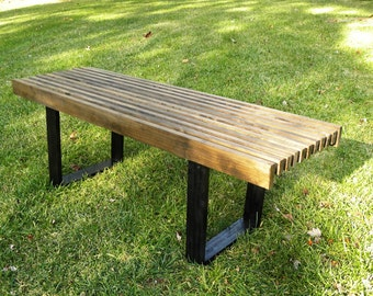 Mid Century Wood Slat Bench Coffee Table