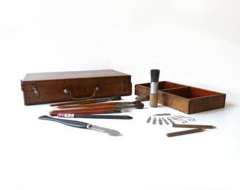 Wooden Paint Box With Paintings Tools Artist Paint Box 1930s Antique Pencils Case Desk Organizer