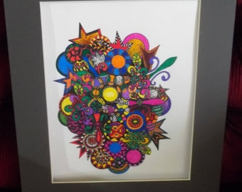 Psychedelic zentangle cornucopeia of colors drawing