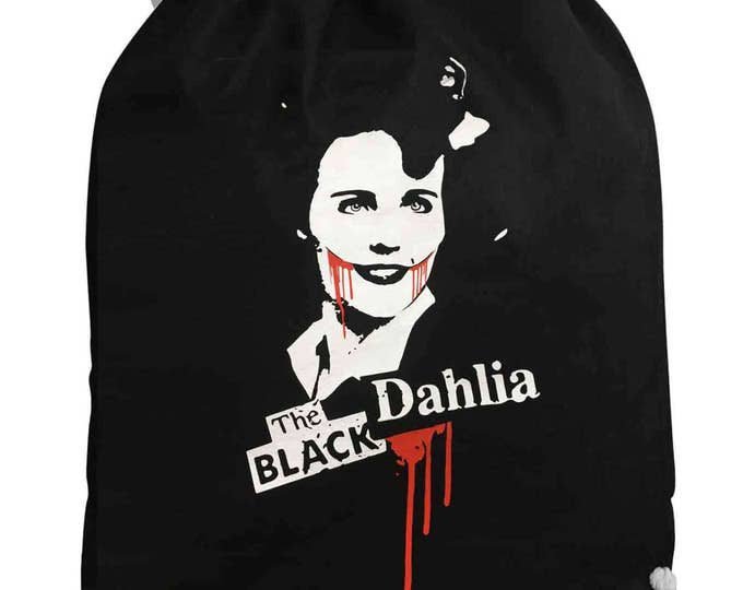 Drawstring Backpack Black Dahlia t-shirt- blood-murder-horror