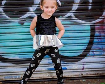 Black & Silver Skulls Print Leggings - Infant, Toddler, Girls