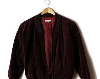Damaged Vintage Brooks Brothers Brown Suede Blouson/Zip up Jacket*