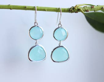 Mint Chalcedony Earrings Silver Dangle Earrings - Quartz Earrings - Drop Earrings - Birthstone Earrings Blue Jewellery - Chalcedony Earrings