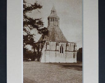 1930s Antique Glastonbury Abbey Print, Old Sepia Decor, Available Framed, Somerset Art, Medieval Architecture Gift, Abbot's Kitchen Picture
