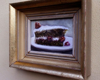 Original Oil Painting of a nice piece of chocolate and rasberry cake in an upcycled vintage gold frame
