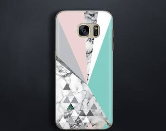 Pastel case for Galaxy S7 Case for Galaxy S7 Edge Case marble pattern for Samsung S8 Case for Samsung Galaxy S8 Plus Case mint and pink