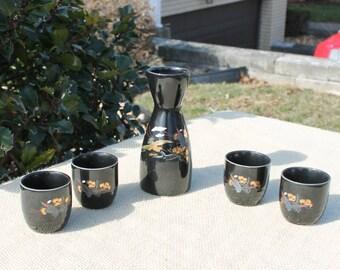 Five Piece Saki Set Black with Gold Accents