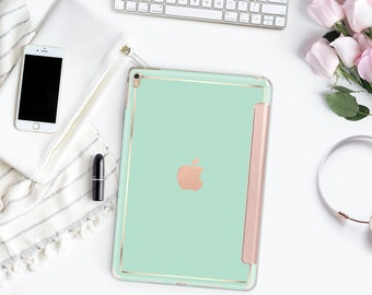 Platinum Edition Paris Green Mint with Rose Gold Smart Cover Hard Case for the iPad Air 2, iPad mini 4 , iPad Pro , New iPad 9.7 2017