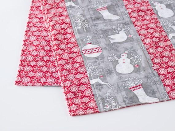 Christmas Table Runner; Holiday Runner, Christmas Trees, Stockings, Snowmen, Ornaments, Reindeer, Red and White; Handmade