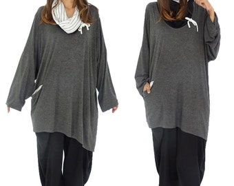 HR800AN1 tunic layered look shirt asymmetrical Gr. 40-52 anthracite plus size Jersey vintage