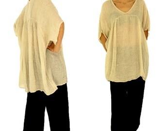 HW200BG ladies tunic plus size blouse kastig cut linen crash one size beige Gr. 42 44 46 48 50