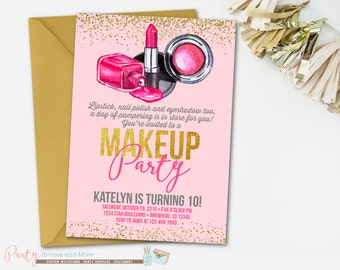 Makeup Birthday Invitation, Makeup Invitation, Glamour Birthday Invitation, Glamour Invitation, Spa Birthday Invitation, Spa Invitation,