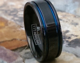 Titanium Two Tone Black Ring 2 Blue Stripe Highlights High Gloss Comfort Fit Personalized Wedding Ring Band Promise - FREE ENGRAVING - AZ184