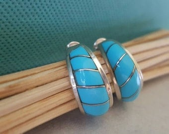 Turquoise and Silver Half Hoop Earrings (st-1868)