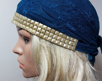 Blue Gold Tichel , Headscarves , Ethnic Head Wrap , Blue Chemo Headwear , Head Scarf , Chemo Cover , Hair Covering