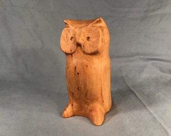 Vintage Gerd Untermann Hand-Carved Owl Figurine