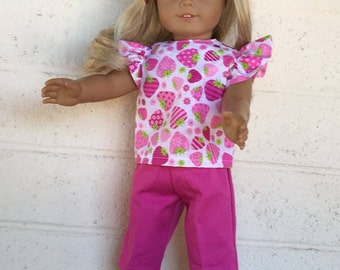 Strawberry Print - Capri Set - Pink & White - 18 inch Doll Clothes - Bitty Baby Clothes - Two Piece Set - Handmade Doll Clothes - Girl Gift