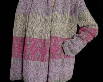 Wrap sweater cardigan Oilily Knit multi color S Wool Blend long sleeves open front