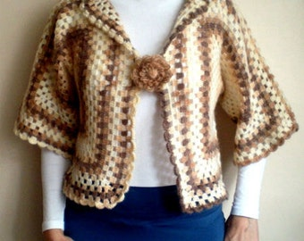 Crochet Cardigan Afghan Jacket Granny Square Shrug Bolero Cardigan Women Fashion Accessories Handmade Gift Ideas Made to Order
