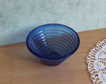Vintage Blue Glass Dish Bowl, Cobalt Bowl