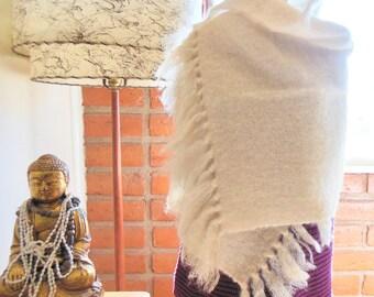 White Mohair SHAWL, Handmade, Long White Mohair Shawl, Handwoven, White Mohair Wrap, White Wool Wrap, Long White Wool Shawl Scarf, Clean