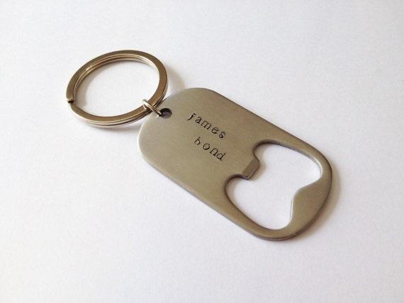 personalized metal bottle opener dog tag key tag bag tag hand. Black Bedroom Furniture Sets. Home Design Ideas