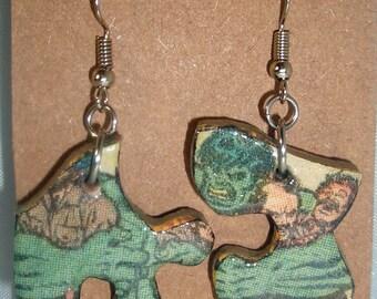 Incredible Hulk Comic Book Recycled Puzzle Dangle Earrings
