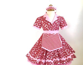 Candy Cane Diner Waitress Costume