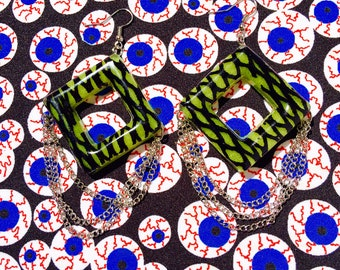 Neon amarillo malla punk cadena earringspunk rock 80s de joyería